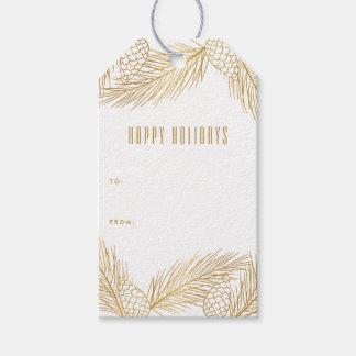 Gold Pinecones und Geschenkanhänger