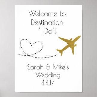Gold, Reise themenorientiertes Dekoration-Hochzeit Poster