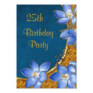 Gold-u. blaue Blumen-25. Geburtstag 12,7 X 17,8 Cm Einladungskarte