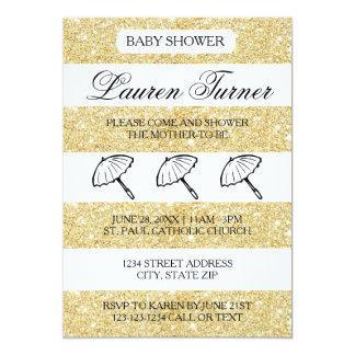 Gold u. weiße Streifen - Babyparty-Einladung 12,7 X 17,8 Cm Einladungskarte