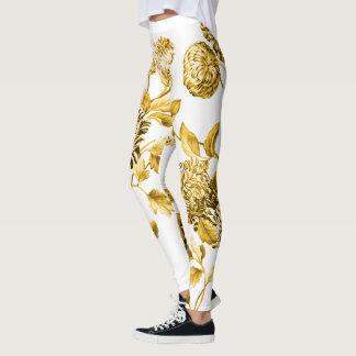 Gold u. weißes modernes botanisches BlumenToile Leggings