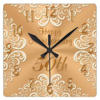 Gold-und Ecru glückliche 50. Hochzeitstag-Uhr Uhren