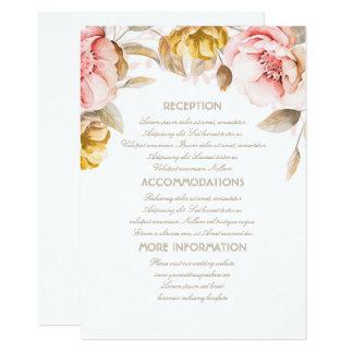 Gold und erröten Blumenhochzeits-Informations-Gast 11,4 X 15,9 Cm Einladungskarte