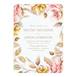 Gold und erröten Blumenwatercolor-Vintage Hochzeit 12,7 X 17,8 Cm Einladungskarte