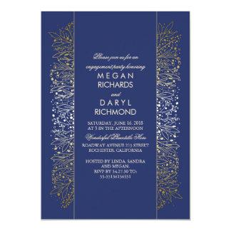 Gold-und Marine-Vintages Verlobungs-mit 12,7 X 17,8 Cm Einladungskarte
