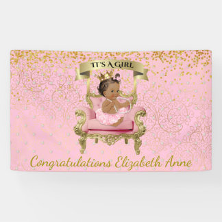 Gold und rosa Fahne Baby-Prinzessin-Babyparty Banner
