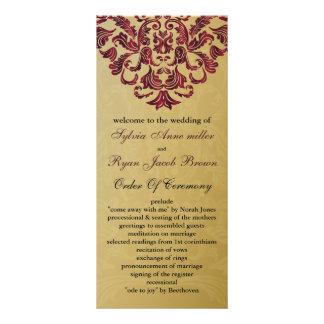 Gold und rosa Hochzeitsprogramm Werbekarten