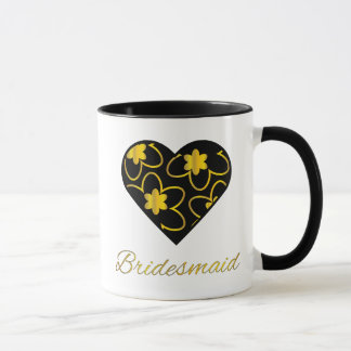Gold und schwarze Brautjungfern-Kaffee-Tasse Tasse