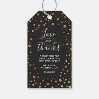 Gold und schwarze Confetti-Folien-Gastgeschenk Geschenkanhänger