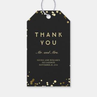 Gold und schwarzer Confetti-elegante Hochzeit Geschenkanhänger