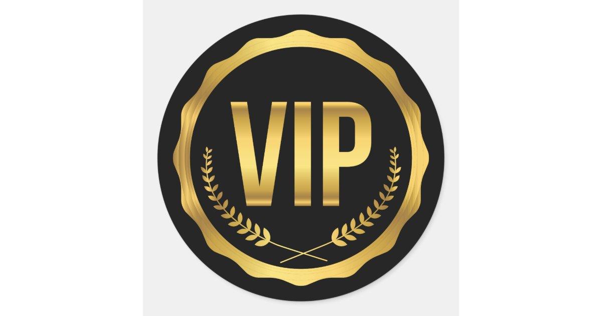Gold und schwarzer Lorbeer VIP-Party-Durchlauf Runder Aufkleber ...