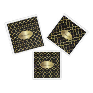 Gold und schwarzes Quatrefoil | personifizieren Acryl Tablett