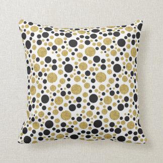 Gold und schwarzes Tupfen-Muster Kissen