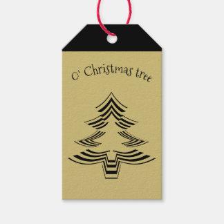 Gold und schwarzes Weihnachtsbaum-geometrisches Geschenkanhänger