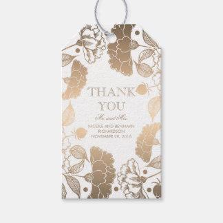 Gold und weißer BlumenKranz - Wedding Pfingstrosen Geschenkanhänger