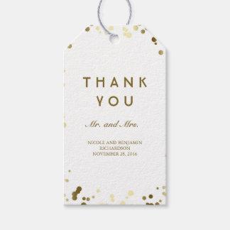 Gold und weißer Confetti-elegante Hochzeit Geschenkanhänger