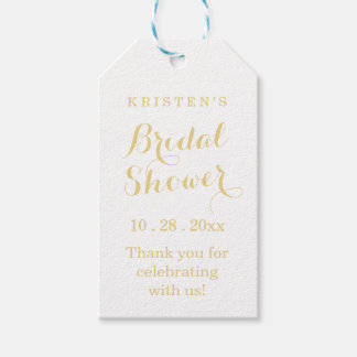 Gold und weißes Brautparty danken Ihnen Geschenkanhänger