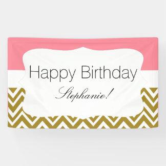 Gold Zickzack mit rosa Geburtstag Banner