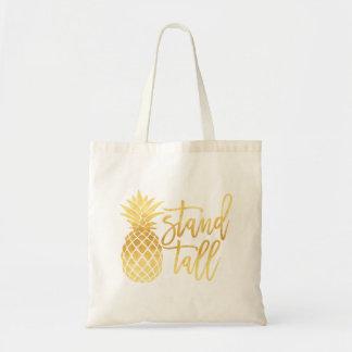 Goldananas-Stand-hohe Taschen-Tasche Budget Stoffbeutel
