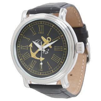 Goldanker-Initialen personifizieren Armbanduhr