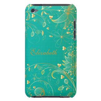 Goldaquamarines Mit Blumenblau iPod Case-Mate Hüllen