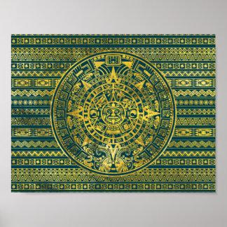 Goldaztekischer Inka-Mayakalender Poster