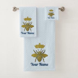 Goldbienen-Krone Ihr Text und Farbe Badhandtuch Set