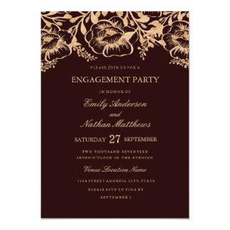 Goldburgunderblumenhochzeits-Verlobungs-Party 12,7 X 17,8 Cm Einladungskarte