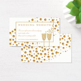 Goldchampagne-Blasen, die Website Wedding sind Visitenkarte
