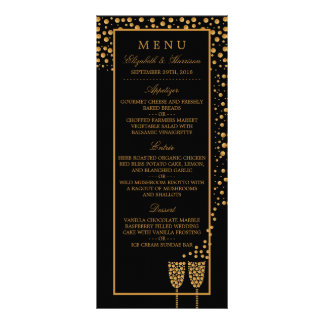 Goldchampagne-Blasen-Verlobungs-Party-Menü 12,2 X 22,9 Cm Kartendruck
