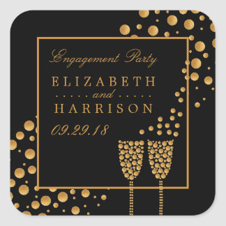 Goldchampagne-Blasen-Verlobungs-Party Quadrat-Aufkleber