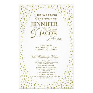 GoldConfetti des Hochzeits-Programm-| Flyer