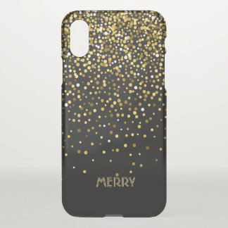 Goldconfetti-Schwarz-Hintergrund iPhone X Hülle