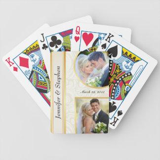 Golddamast, der doppeltes Foto-Spielkarten Wedding Pokerkarten