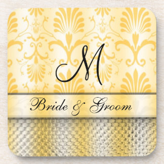 Golddamast-Muster-Monogramm-Hochzeit Untersetzer