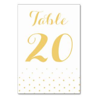 Golddiamant auf weißer Tischnummer-Karte