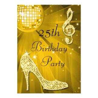 Golddisco-Ball und Heels-25. Geburtstag Personalisierte Einladungskarte