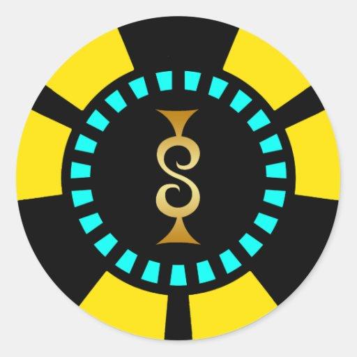 GOLDdollar-ZEICHEN-POKER-CHIP Runder Sticker