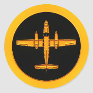 Golddoppelstütze-Flugzeug Runder Aufkleber