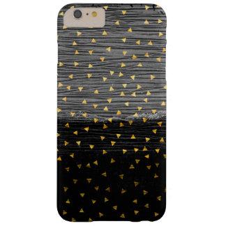 Golddreiecke auf Schwarzem und Grau Barely There iPhone 6 Plus Hülle
