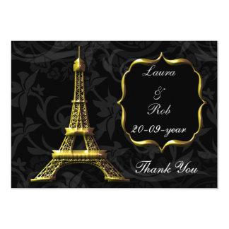 GoldEiffelturm-französische Hochzeit danken Ihnen Individuelle Ankündigung