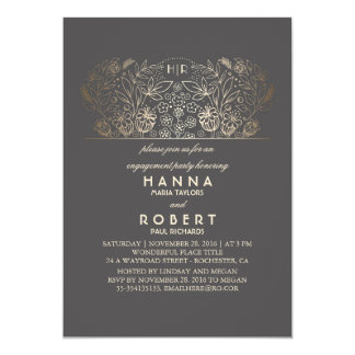 Goldelegantes und Vintages Verlobungs-mit 12,7 X 17,8 Cm Einladungskarte