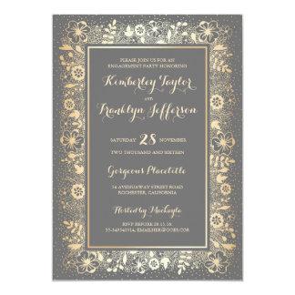 Goldelegantes Vintages BlumenVerlobungs-Party 12,7 X 17,8 Cm Einladungskarte