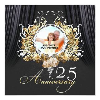 Golden ornaments Anniversary invitation Quadratische 13,3 Cm Einladungskarte