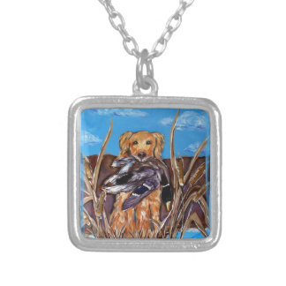 GOLDEN RETRIEVER VERSILBERTE KETTE