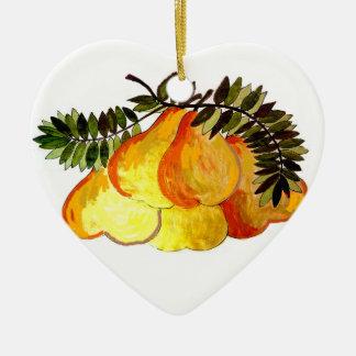Goldene Birnen-Verzierung Keramik Herz-Ornament