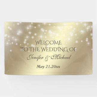 Goldene Blickhochzeit der Trendy romantischen Banner