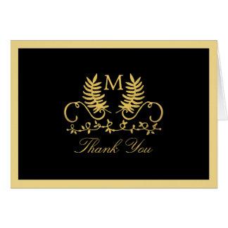 Goldene Blumenemblem-Hochzeit danken Ihnen Mitteilungskarte