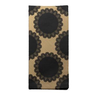 Goldene Folien-Schwarz-Spitze-Kreis-Serviette Serviette