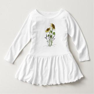 Goldene gelbe Sonnenblumen u. Lavendel-Kleid Kleid